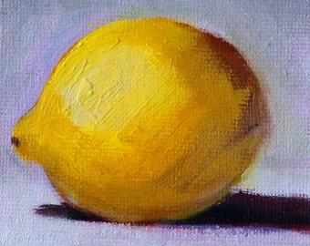 Tiny Lemon, Oil Painting, Original 3x3 Canvas, Citrus Tropical Fruit, Small Kitchen Wall Decor, Little Square, Yellow Blue, Miniature
