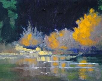 Autumn Landscape, Oil Painting, Original 6x8, Canvas Wall Decor, River Lake, Forest, Golden Trees, Reflection, Northwest Scene, Oregon