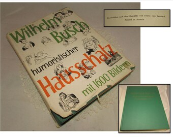 Vintage Hardcover book with Dust Jacket, Humoristischer Hausschatz, mit 1600 Bildern, Collections of cartoon illustrations with German Text