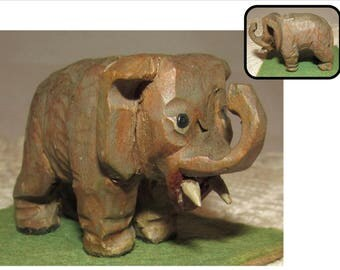 Charming Vintage Carved Wood Elephant Trunk up, folkart, wooden statue sculpture, animal, pachyderm