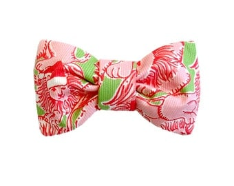 BOW Only: Made from Lilly Pulitzer SANTA LION Christmas Fabric