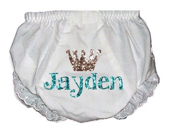 Design your own Tiara Name Glitter Baby Bloomers/ Personalized bling/  baby shower