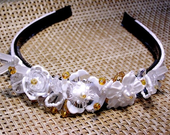 Handmade lampwork beads wedding bridal tiara/headband -white