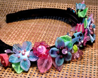 Handmade lampwork beads wedding bridal tiara/headband - pink and turquoise