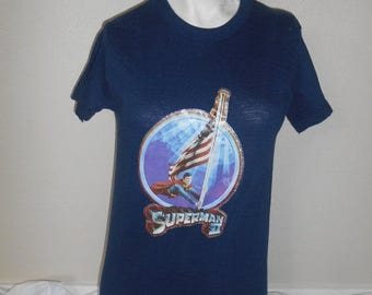 Vintage  Superman II    70s 80s   glitter iron on   t shirt tshirts             clothing clothes