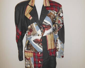 Vintage 80s 1980s   crazy cool    patch      women      trendy magazine  JACKET blazer by Destination Other  button up      clothing clothes