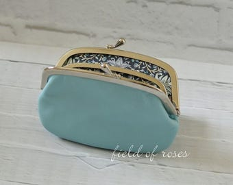 Women's Leather Frame Wallet with Divider Powder Blue Liberty of London  2 Section 2 compartment Pastel Blue