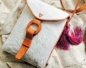 White Hide Leather Bag with Tassels. Chiapas, Mexico. Boho Beauty
