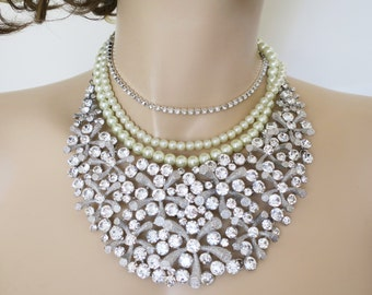 Bridal Rhinestone Necklace Wedding Statement Necklace Bridal Jewelry Statement Bib Crystal Pearl Choker Bling Beach Ocean Wedding Sukran
