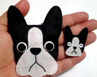 Boston Terrier Applique,Boston Terrier Embellishment,  Boston Terrier, Scrapbook Dog, Dog Embellishments, Fabric Dogs, Made to Order, Patch