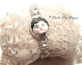 Rhinestone Frozen Charlotte Doll Face Bracelet Soldered Blue Eyed China Doll Head Wearable Art Statement Bracelet