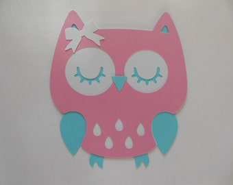 Owl Cutout - Pink, White and Aqua - Girl Birthday Party Decorations - Girl Baby Shower Decorations - Set of 1