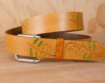 Leather Belt - Handmade Belt for Women or Men in the Rowan pattern with ferns in yellow, green and antique tan - Woodland Style