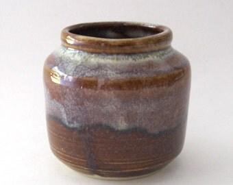 Ikebana Bottle Shape Vase with Pin Frog - Coffee Latte Glaze