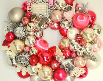Ornament wreath, christmas ball wreath, shiny brite, vintage ornament wreath, pink and silver, bottle brush tree, vintage deer, door wreath