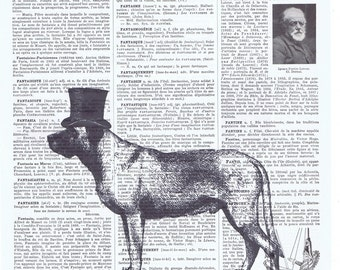 Dog.Top hat.Canine.antique book page print.vintage illustration.paris.french.gift.child.nursery.den.home deco.art.pet.mans best friend.eco.
