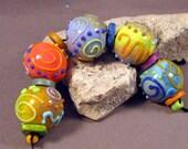 Lampwork Glass Beads Handmade by Mona Sullivan - Enamels, Swirls, Dots 3 -Colorful Lampwork by Monaslampwork Bohemian Enamels Lampwork beads