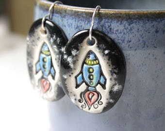 Rocket Ship Ceramic Earrings in Black and Gray