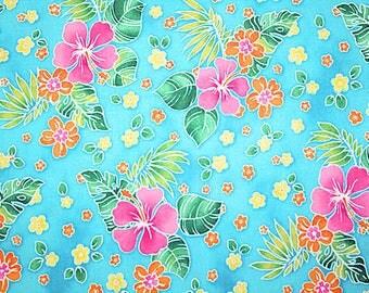 Tropical Flowers on aqua Summer Beach Hawaii Hibiscus cotton fabric SALE 1 yard last piece