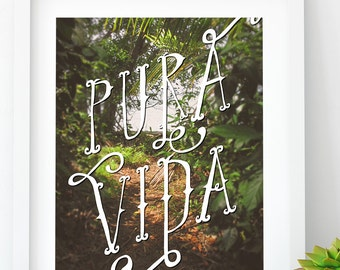 Modern Pura Vida Jungle PRINTABLE, Costa Rican Art, Costa Rica, Dorm Art, Printable art, Tropical decor, Beach Home Decor, Jungle Decor