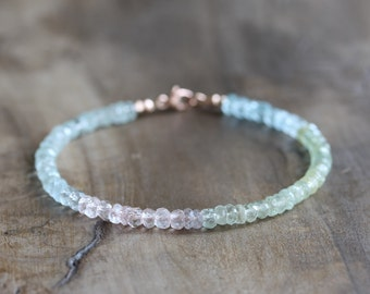 Aquamarine bracelet - Pastel bracelet with a rose gold filled clasp - March birthstone - ombre gemstone jewelry - morganite