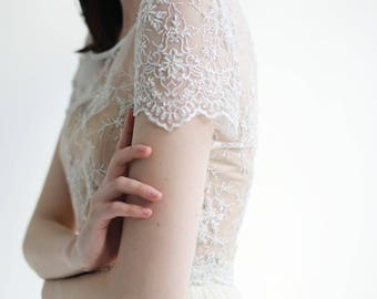 Beaded lace wedding top separate - Sample Sale short-Sleeve