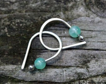 20% OFF TODAY Chrysoprase sterling silver petite open hoops