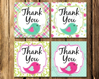 Printable Summer Birds Baby Shower Thank You Tags - Instant Download