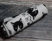 RockerByeBasics Large Newborn baby Swaddle Blanket 36x42 Cats Meow Evil Cat White