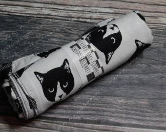 RockerByeBasics Large Newborn baby Swaddle Blanket 36x42 Cats Meow Evil Cat White