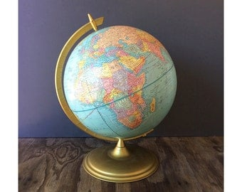 1969 Crams World Globe with Stand - School House Decor