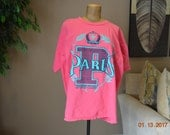 """80's T Shirt, Paris  Sports Club,Pink Purple,Over-sized ,XXL 50"""" Chest ,Great Vintage Condition"""
