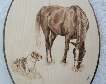 Horse and Dog Portrait Solid Maple Wood Burned Plaque Made to Order 8 x 12 inch by Shannon Ivins Pigatopia