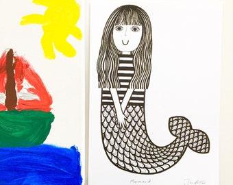 Mermaid Screen Print by Jane Foster