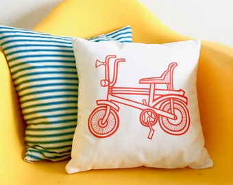 Screen Printed Retro Chopper Bike cushion pillow by Jane Foster 13 inches square