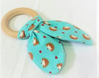 Natural Wooden Teether with Crinkles - Hedgehogs on Aqua - Neutral Baby Gift - Natural Teething Solutions