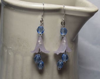 Lavender and Blue Trumpet Flower Earrings