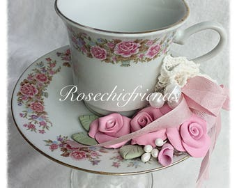 PInk Tea Cup Votive Candle Holder Stand Clay Roses