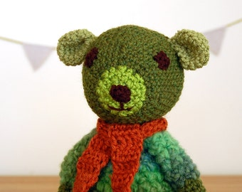 Teddy Bear, Knitted Teddy Bear, Handmade Teddy Bear, Baby Gift, Unisex Baby Shower Gift, Newborn Gift, Green Teddy Bear, Unisex Baby Gift