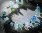 Real Sea glass bracelet - Gift for her - Sea glass jewelry - Crystal jewelry - Beach jewelry - Under 25 gift -  Gift beach lover