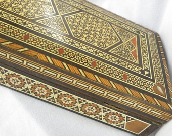 Inlaid Wood Box Intricate Mother of Pearl and Bone Velvet Lined
