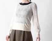 Cream and white sweater, White womens knit sweater, Thin white sweater, Long sleeves, Womens clothing, MALAM