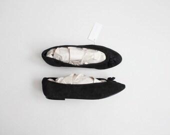 tassel flats   black suede ballet flats   size 7.5 ballet flats