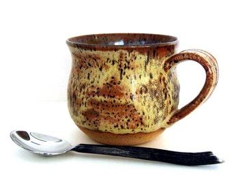 Hand Made Mug - Coffee Mug - Ceramic Mug - Stoneware Mug - Large Mug - Bare Bottom - 15 oz - Ready to Ship - Wheel Thrown Stoneware Pottery