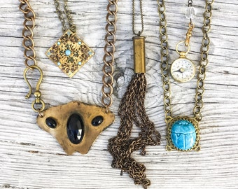 SALE! 5pc resale LOT antique Bulk vintage haute Necklace gold silver shiny drippy jewelry deco nouveau, victorian, tassel scarab compass s26