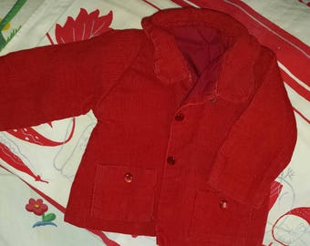 Vintage Red Corduroy Doll Coat with buttons Med. size Handmade