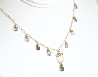Arabella - Multi Color Sapphires Gold Filled Necklace