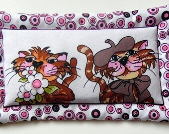 Two Cats Lavender and Flax See Hot/Cold Pack, Mini Cat Hot or Cold Pack, Organic French Lavender and Flax Seed Cat Hot or Cold Pack