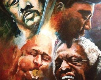 """Mingus, Monk, Blakey, and Gillespie Playing Jazz - an 8x10"""" print on beautiful gloss photo paper, with a high quality finish and UV coating."""
