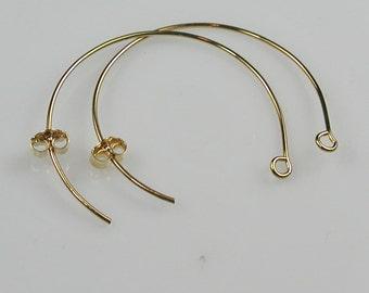 Gold Plated Half Hoop Arc Ear Wires Destash